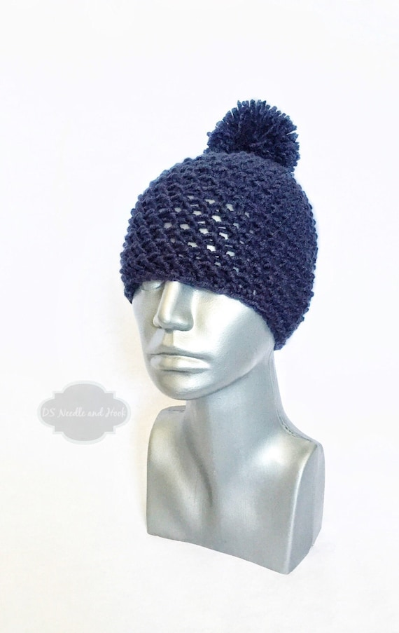 Navy Blue Chunky Beanie with Pom, Blue Crochet Hat, Dark Blue Winter Beanie With Puff, Pom Pom Knit Hat, Ski Cap