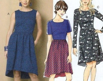 FREE US SHIP Butterick 6086 High Waist Shaped Hem Dress Size 14-22 Bust 36 38 40 42 44 46 Sewing Pattern Factory Folded Unused