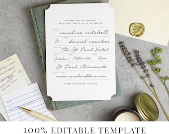 Printable Wedding Invitation Template, Word or Pages, MAC or PC, Library Book Suite, Calligraphy, Handwritten, Instant DOWNLOAD