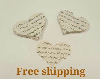 100 book pages cutouts. Die cuts. Embellishments. Book pages paper cutouts. 100 heart cutouts from book paper. Free shipping.