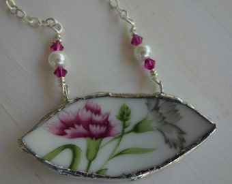 Broken china jewelry- Broken china necklace-  pink and gray flower broken china pendant-  pink flower necklace