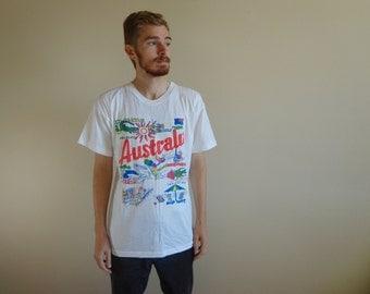 80s Australia Tourism Soft & Thin White T-Shirt ~ Size XL