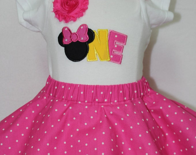 Baby girl 1st birthday outfit, girl first birthday outfit, Minnie Mouse inspired 1st birthday outfit,Disney birthday, Pink polka dot skirt