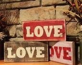 Wooden LOVE Sign - Red, White, or Brown - Distressed, Rustic Country, Primitive, Vintage Farmhouse, Valentines Day Decor