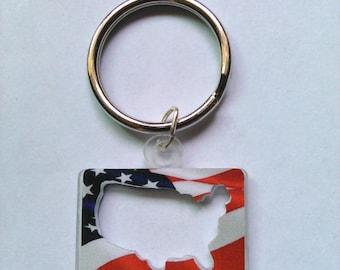 USA Cutout Keychain