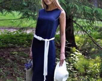 """Maxi linen dress / 100% linen flax """"Maxi"""" dress with pockets / linen dress / maxi dress / women's dress / navy dress/ dark blue dress"""