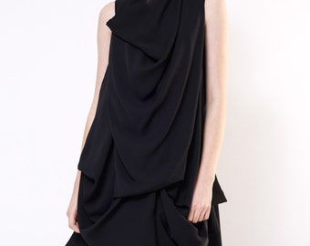 Silk dress / Sheer dress / Black silk dress / Evening dress woman/ Modern Black Dress / Little black dress / Extravagant dress