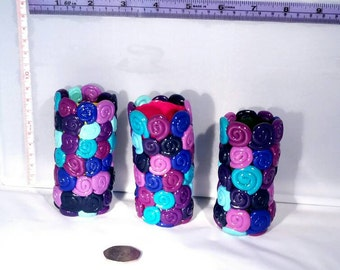 Pretty little blue, pink and purple spiral bud vase Made from Fimo / Polymer clay