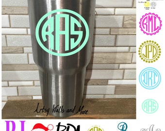 Yeti Cup Monogram vinyl decal, laptop/ Mac decal, Yeti decal, Monogram car decal, Monogram sticker, Yeti cup decal, water bottle decal