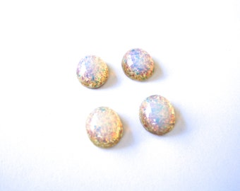 NOS Glass Fire Opal Cabochons 12x10mm Cabochons (Qty 6) Vintage glass oval cabochons