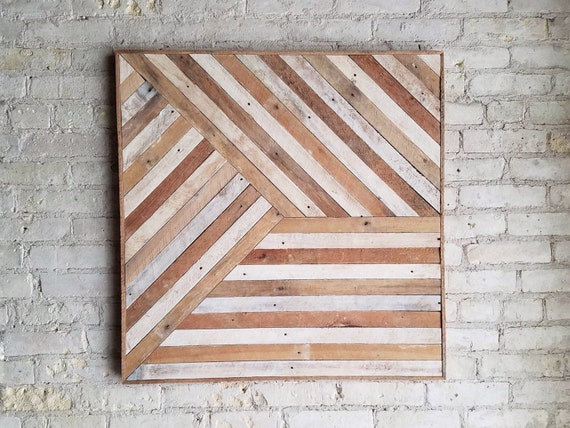Reclaimed Wood Wall Art, Mixed Banner, Pattern, Geometric, Lath, 30 x 30