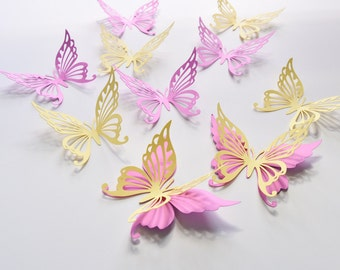 18 Butterfly Wall Decor, Butterfly Wall Stickers, Butterfly Wall Decorations for Girls Room, Paper Butterfly Party Decor