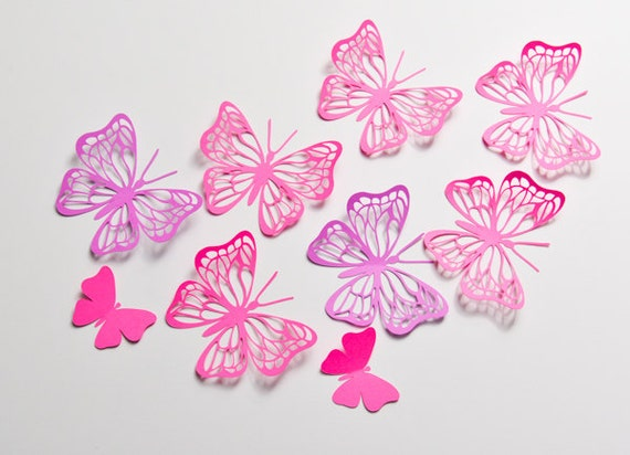 12 Large Butterfly Wall Art 3D Decor Party