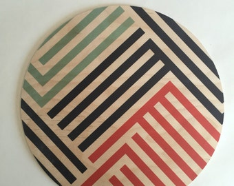 LINES giant coaster, wood trivet, plant plate, centerpiece, wood tray, geometric tray, stripes, memphis, Art Deco, large coaster