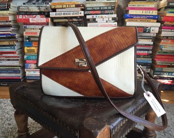 vintage off white & brown purse