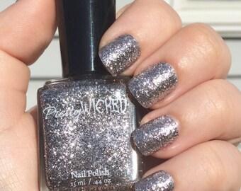 Silver Glitter Nail Polish, Lux Polish, Silver Nail Polish, Wedding Nails, Glitter Nail Polish, Reflective Nail Polish, Silver Polish