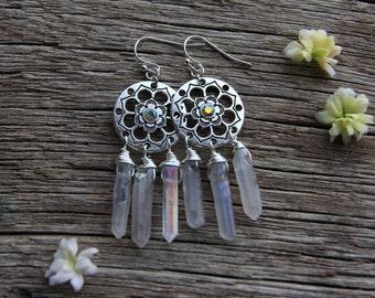 Clear Aura Quartz Earrings / Silver Flower Earrings / Lotus Earrings / Bohemian Earrings