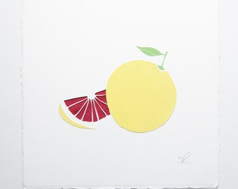 Grapefruit handmade papercut picture // exotic fruits - wall art - grapefruit art print - interior decor - fruit picture - personalized gift