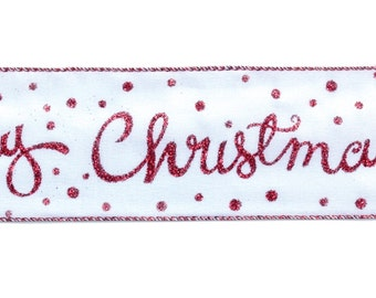 WIRED RIBBON - Ribbon - White and Red- Merry Christmas with Glitter Drops - Christmas Ribbon - Wreath - Floral - 49046