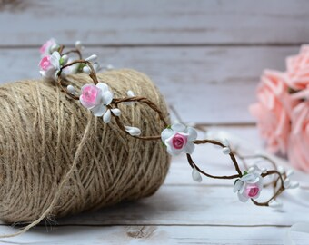 Flower Crown Pink Flower Festival Crown Wedding Bridal Party Headband Hair accessories Flower Girl Crown
