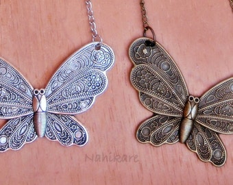 Butterfly Necklace - Butterfly Boho - various long chain - silver or antique brass