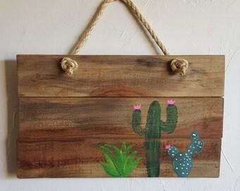 Rustic, handmade cactus/succulent wall hanging