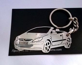 Peugeot 307 Personalized Key Chain, Peugeot keychain, Custom Keychain, Stainless Steel Keyring, personalised keyring, fathers day gift