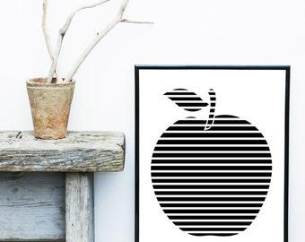 Apple Poster, Nursery Prints, Kitchen Art, Black And White Art, Scandinavian Design,Art Print, Giclee print, Wall Art, Wall Decor