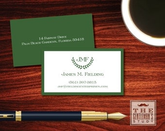 St. Andrews Calling Cards - Masculine Wreath Monogram - Bordered Personal Business Cards - Executive Contact Cards for Men -