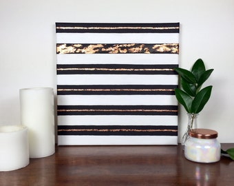 Gold Striped Painting | Original Wall Art | 12x12 inch | Black and White with Copper Leaf
