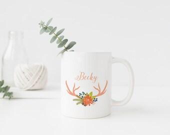 Personalised Mug. Name Mug. Flowers and Antler. Bridesmaid Gift. For Her. 11 oz.