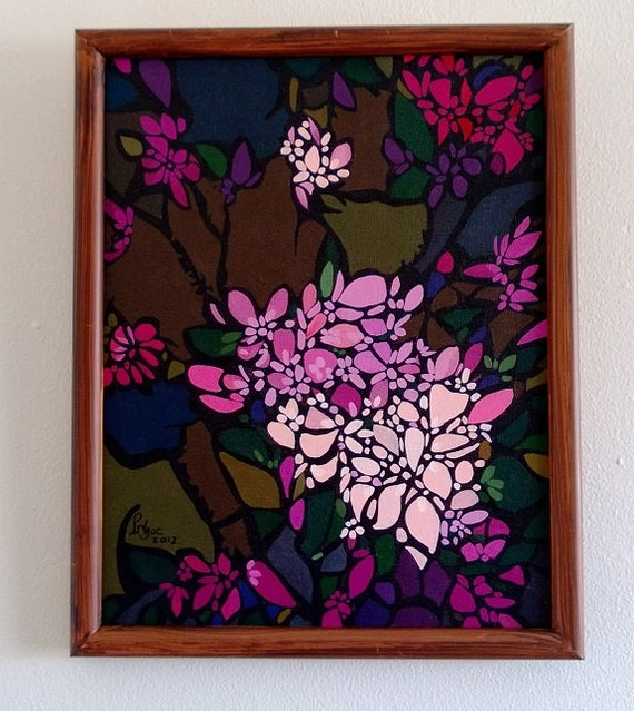 """CHERRY BLOSSOMS 12.25x15.25"""" framed acrylic on canvas, cherry blossoms, floral wall decor, original painting by Nguyen Ly Phuong Ngoc"""
