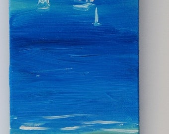 Original oil painting of a seaside, red umbrella and swimmers in swimsuit, blue sea with sailboats, original painting