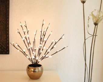 Crystal Willow in Gold Hammered Finish Vase Illuminated Floral Arrangement