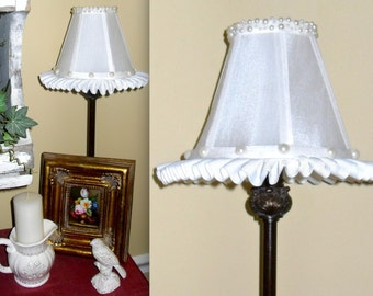 WHITE Chandelier Lamp Shade in Silk With Ruffle Trim and Pearl Accents