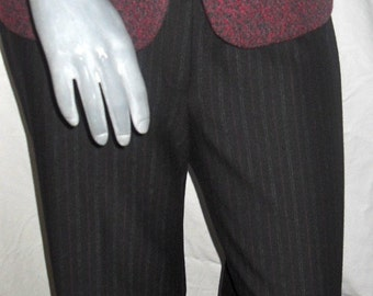Black/Red/White Pin Stripe Career Full Length Jersey Stretchy Slacks/Pants M