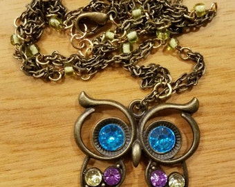 Crystal Owl Necklace and Earring Set