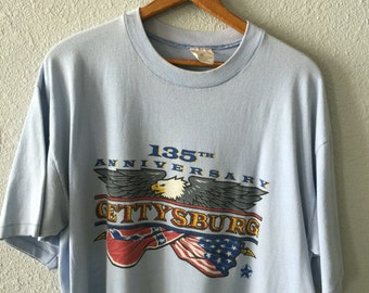 1990's Gettysburg 135th Anniversary Vintage American Flag Bald Eagle Graphic Poly/Cotton Blend T Shirt