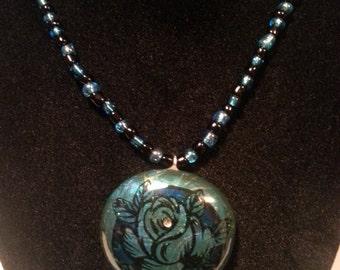 Blue and Black Rose - Nail Polish Glass Pendant Necklace