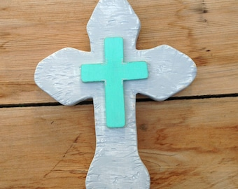 Concrete Cross, Wooden Wall Cross, Stone Cross, Wood Cross, Unique Cross, Easter decor, Aqua Cross, Religious Wall Decor, Handmade Cross