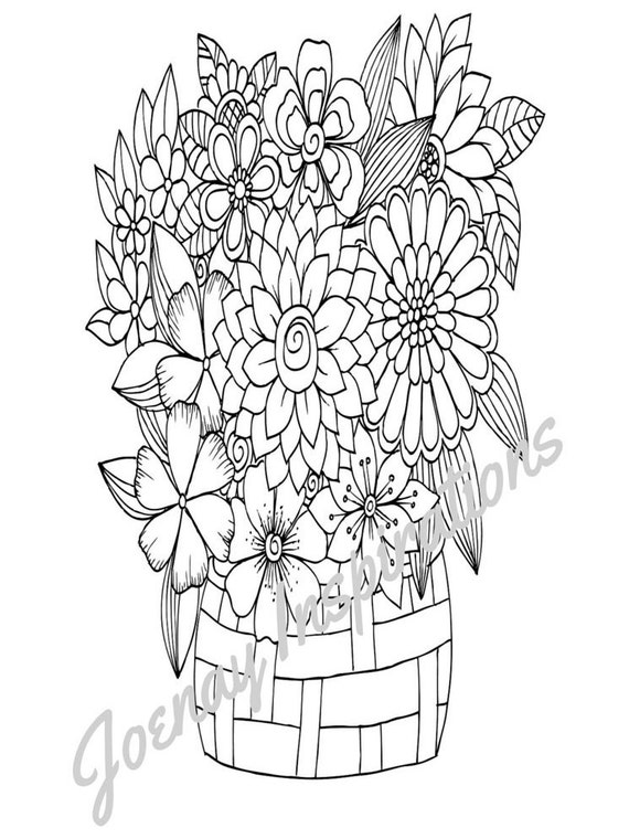Adult Coloring Book, Printable Coloring Pages, Coloring Pages, Coloring Book for Adults, Instant Download, Fancy Flowers 2 page 9