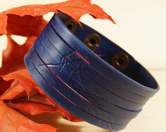 Kite Engraved Navy Blue Multi-strand Wide Leather Wristband, Blue Six-strand Leather Cuff, Blue Leather Wide Bracelet , Kite Engraved Cuff