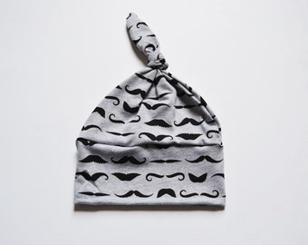 Black Mustachio on Gray Cotton Jersey, Knot Hat, Baby Knot Hat, Newborn Hat, Baby Gift