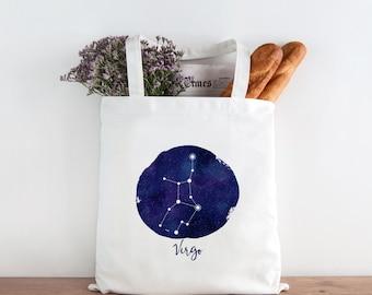 Astrology Tote Bag, Virgo Constellation Art Tote Bag, Virgo Art, Printed Tote Bag, Market Bag, Shopping Bag, Reusable Grocery Bag 0070