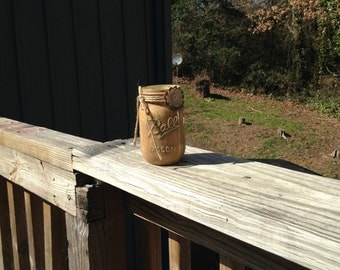 Chalkpainted and  Distressed  Upcycled Mason Glass Jar