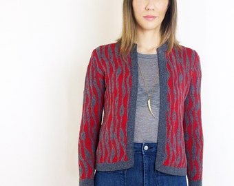 Vintage St. John Knits Cardigan Red and Grey Knit Sweater Wavy Pattern Sweater Knit