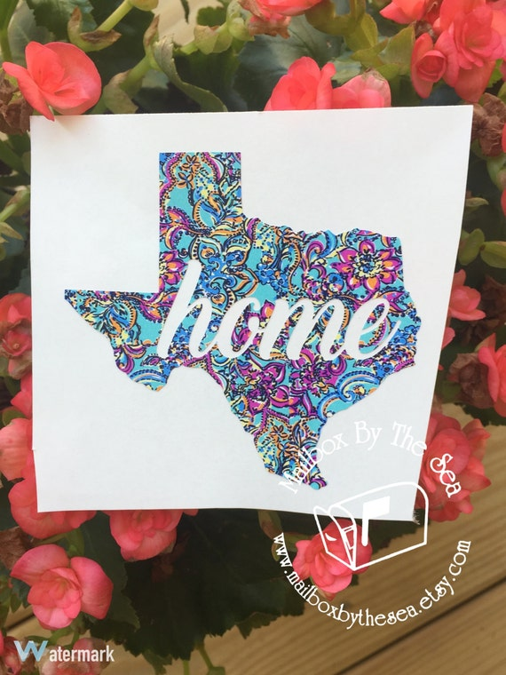 Lilly Pulitzer Inspired Cursive Home State By Mailboxbythesea