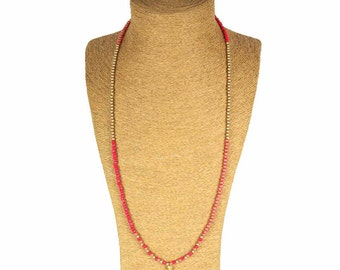 Golden Tassel Long Necklace / Sautoir à pompon doré - Colorful Bright beads / Perles multicolores brillantes