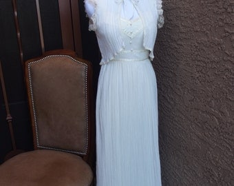 Vintage Cream Gauze Long Dress with Jacket
