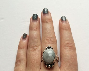 White Howlite and Sterling Silver Ring